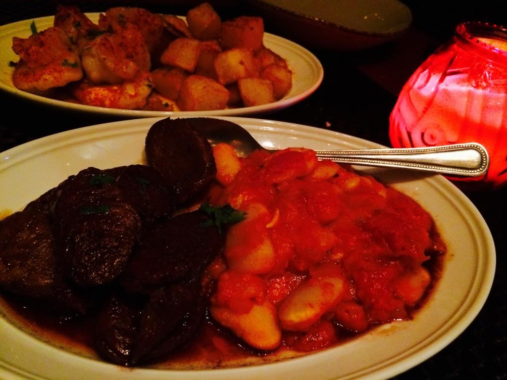 Chorizo Fresco - homemade chorizo, garlic Rioja wine sauce, lima beans