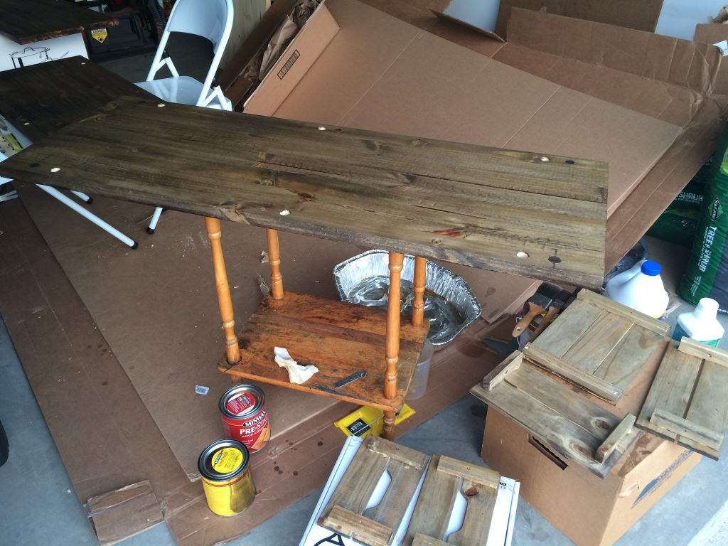 Prepare sand, stain and finish wood